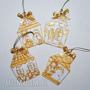Pomysł na prezent święta: Złote domki ozdoby świąteczne magosza
