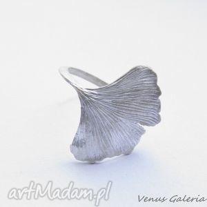 venus galeria pierścionek srebrny - miłorząb biały, biżuteria, srebro