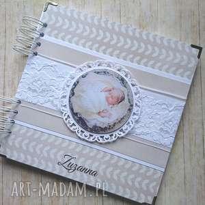 handmade scrapbooking albumy album - ze zdjęciem i koronką