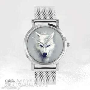 Prezent Zegarek, bransoletka - Biały wilk metalowy, zegarek, bransoletka, metalowa