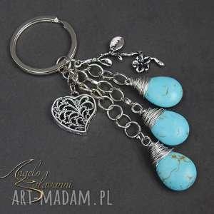 angelo salavanni brelok do kluczy, torebki turkus serce, brelok, kamień