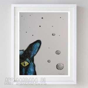 kotek - akwarela,abstrakcja formatu 18/24 cm, akwarela, kot, kredki, abstrakcja