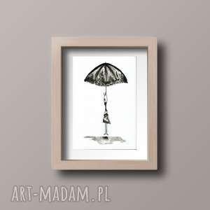 obraz A4 namalowany ręcznie, minimalizm, abstrakcja czarno-biała