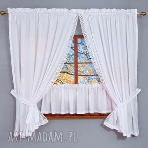 dekoracje komplet okienny cotton, komplet, bawełna, batyst, koronka, zazdrostka