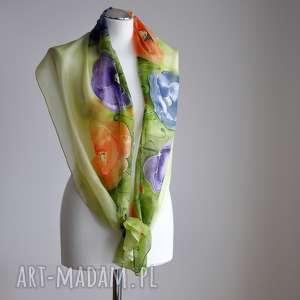 Malowany jedwabny szal - kolorowe maki, kolorowe-maki, makowy-szal, malowany-szal
