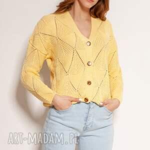 ażurowy sweter na guziki - swe143 żółty, guziki, cardigan