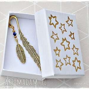 złote piórka - zakładka w pudełeczku, zakładka, pióro, piórko, prezent, gwiazdka