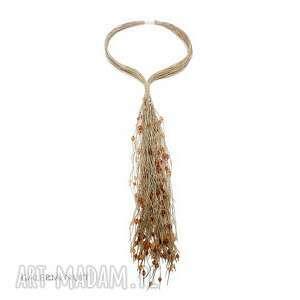 eko krawat bursztynowe kryształki - ekologiczny, długi, lekki, krawat, kobiecy