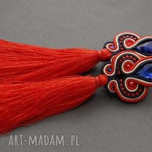 czerwono-granatowe kolczyki sutasz z chwostami, sznurek, eleganckie, wiszące