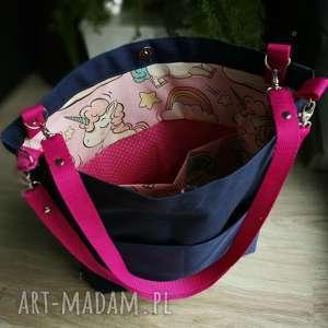 torebka 2 w 1 plecak unicorn - torba, plecak, unicorn, różowa, kordura, jesień