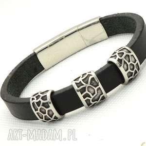 handmade męska czarno-srebrna bransoletka z naturalnego rzemienia i stali