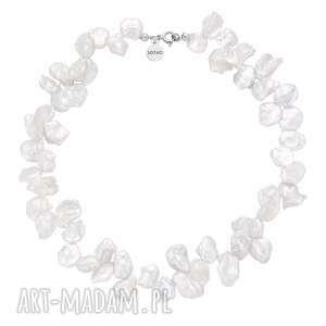 srebrny naszyjnik z naturalnych pereł sotho - srebrne, płaskie