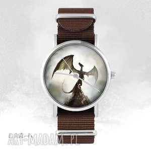 hand-made zegarki zegarek - smok cienia brązowy, nato