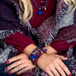 BRANSOLETKA z lapisów lazuli chwostem - BOHO, lapis, lazuli, minerał, kamień