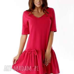 ręczne wykonanie sukienki sukienka z falbaną i kokardą malinowa