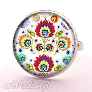 ludowe wzorki - pierścionek regulowany, folkowy, kwiaty