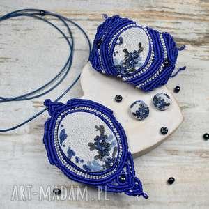 elegancki komplet biżuterii w odcieniach chabru i szarości, biżuteria na prezent