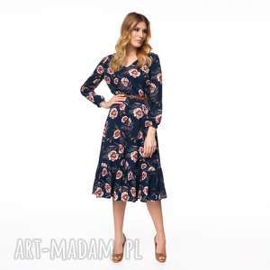 sukienka tamar wiskozowa, jesienna, kwiaty, stylowa, kolorowa, codzienna
