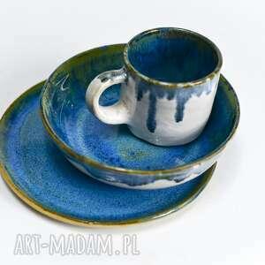 komplet kamionkowy niebiesko-biały - kubek talerz i miska -rękodzieło toczony