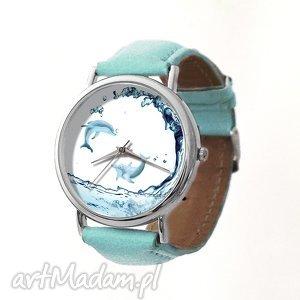Delfiny - Skórzany zegarek z dużą tarczą, delfiny, ocean, zegarek, błękitny, skórzany