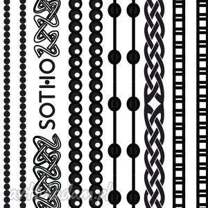 sotho zestaw czarnych tatuaży bransoletek no 3 - czarna, bransoletki