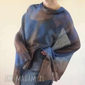 lniane ponczo granat brąz, ponczo, sweter, lniany, bluzka, luźny, one size