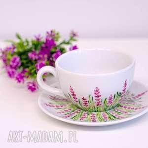 Prezent Duża filiżanka motyw lawendy, filiżanka-lawenda, ręcznie-malowana, do-herbaty