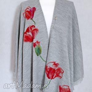 Ponczo chusta filcowana wełną - maki, chusta, poncho, ponczo, kwiaty,
