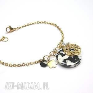 alloys collection / łaciata/ - bransoletka, stal, szlachetna, pozłacane, zywica