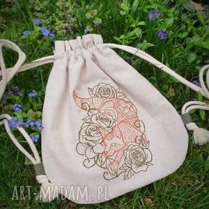 plecak worek mini lis w kwiatach, plecak, worek, lis, lisek, haft