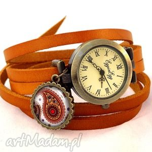 nerkowce - zegarek bransoletka na skórzanym pasku, orientalny, prezent