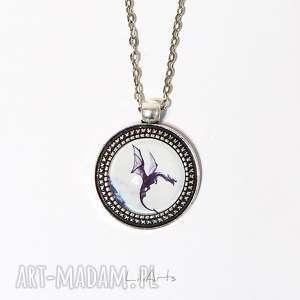 medalion, naszyjnik - czarny smok 2 cm, wisiorek, naszyjnik