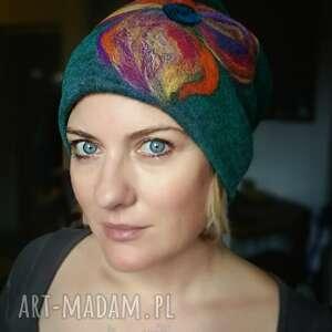 ręcznie zrobione czapki czapka handmade wełniana czesanką filcowane wełniane -czapka