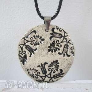 etno naszyjnik - ceramiczny, etniczny, minimalistyczny, z ceramiki, na prezent, upominek