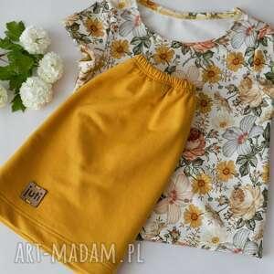 Musztardowa spódniczka z bluzeczką rozm 128 -116 juti bags