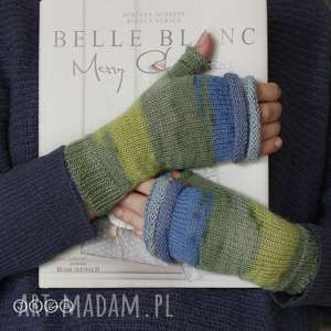 Mitenki zielono-niebieskie, rękodzieło, wygodne, eleganckie, miękkie, ciepłe