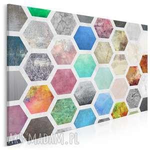 obraz na płótnie - kolorowy geometria 120x80 cm 40601, miód