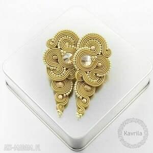 kolczyki soutache rosaline beige, sutasz, soutache, orientalne, długie biżuteria