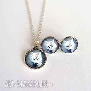 komplet - biały wilk naszyjnik i kolczyki mały, komplet, naszyjnik