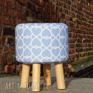 Pufa Niebieskie Serduszka - 36 cm, puf, pufa, taboret, stołek, siedzisko, ryczka