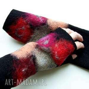 kolorowe mitenki - rękawiczki bez palców, filcowane mitenki, ciepłe