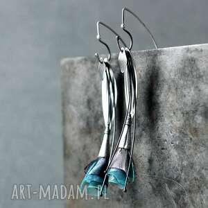 srebrne wiszące kolczyki listki inspirowane naturą, listki, długie