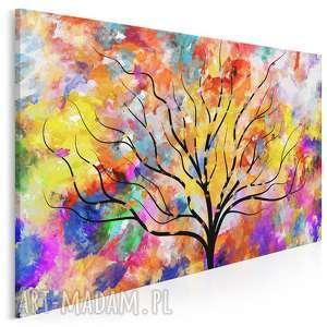 obraz na płótnie - drzewo kolory sztuka art 120x80 cm (74201)