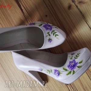 buty góralskie malowanki fioletowe, folk, góralskie, róże, malowane