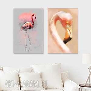 zestaw 2 obrazy 40 x 60 na płótnie, flamingi, do salonu, sypialni