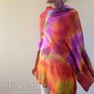 Wełniany ręcznie barwiony szal szaliki anna damzyn szal, wełna