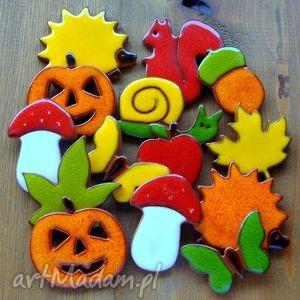 zestaw jesiennych ozdób ceramicznych, kolorowe, jesienne, jeż, wiewiórka, leśne