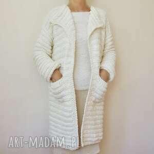 prosty, elegancki sweter handmade, robiony na drutach /9/, sweter, żakiet