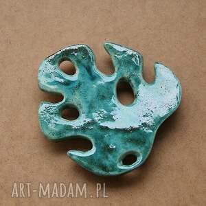 mydelniczka ceramiczna - liść monstery, ceramiczna, polska ceramika