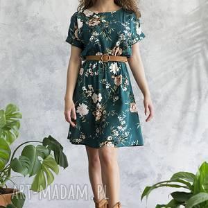 sukienka zielona w kwiaty, sukienka, midi, wiskoza, wygodna, uniwersalna, dziewczęca